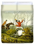 Plunging Through The Hedge From Qualified Horses And Unqualified Riders Duvet Cover by Henry Thomas Alken