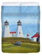 Plymouth Light Station Before 1924 Duvet Cover