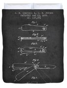 Pocket Knife Patent Drawing From 1886 - Dark Duvet Cover