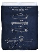 Pocket Knife Patent Drawing From 1886 - Navy Blue Duvet Cover