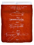 Pocket Knife Patent Drawing From 1886 - Red Duvet Cover