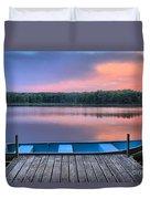 Poconos Lake Whitney Sunset Rowboat Duvet Cover