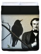 Poe And The Raven Duvet Cover