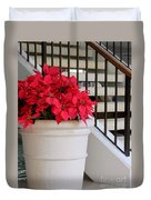 Poinsettias By The Stairway Duvet Cover