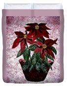 Poinsettias Expressive Brushstrokes Duvet Cover