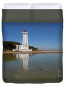 Point Abino Lighthouse Reflection Duvet Cover