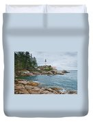 Point Atkinson Lighthouse And Rocky Shore Duvet Cover