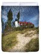 Point Betsie Lighthouse On Lake Michigan Duvet Cover