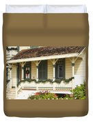 Point Fermin Lighthouse Christmas Porch Duvet Cover