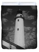 Pointe Aux Barques Lighthouse Black And White Duvet Cover