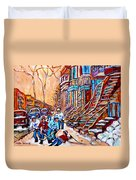 Pointe St.charles Hockey Game Near Winding Staircases Montreal Winter City Scenes Duvet Cover