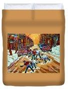 Pointe St.charles Hockey Game Winter Street Scenes Paintings Duvet Cover