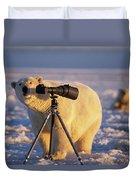 Polar Bear Investigating Photographers Duvet Cover