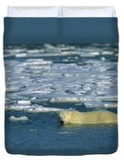 Polar Bear Wading Along Ice Floe Duvet Cover