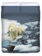 Polar Bear With Cubs On Pack Ice Duvet Cover