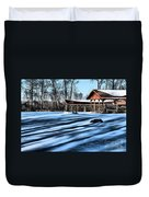 Pole Barns In The Winter Duvet Cover