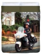 Police - Motorcycle Cop On Patrol Duvet Cover