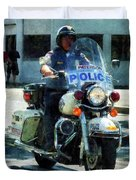 Police - Motorcycle Cop Duvet Cover