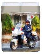 Police - Suburban Motorcycle Cop Duvet Cover
