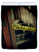 Police Tape Blocking Bloody Stairs Duvet Cover