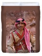 Policeman In Petra Jordan Duvet Cover by David Smith