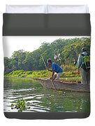 Poling A Dugout Canoe In The Rapti River In Chitwan National Park-nepal Duvet Cover