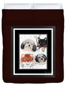 Polka Dot Family Pets With Borders - Whimsical Art Duvet Cover