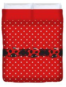 Polka Dot Lady Bugs Graphics By Kika Esteves  With Custom Coordinated Design Crafted By D Miller.  Duvet Cover