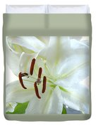 Pollinated White Tiger Lily Duvet Cover