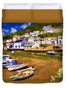 Polperro At Low Tide Duvet Cover by David Smith