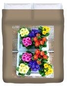 Polyanthus Primroses Duvet Cover