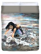 Polynesian Child Playing With Water Duvet Cover