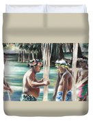 Polynesian Men With Spears Duvet Cover