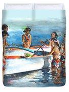 Polynesian Vahines Around Canoe Duvet Cover