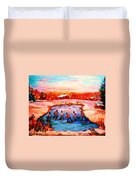 Pond Hockey Game By Montreal Hockey Artist Carole Spandau Duvet Cover