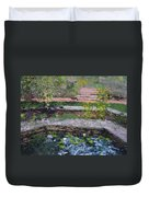 Pond In The English Walled Gardens Duvet Cover