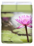 Pond With Pink Water Lily Flower Duvet Cover