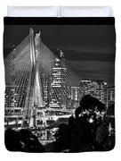Sao Paulo - Ponte Octavio Frias De Oliveira By Night In Black And White Duvet Cover