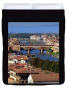 Ponte Vecchio And Arno River Duvet Cover