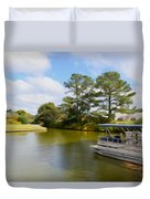 Pontoon Boat Ride On The Lake Duvet Cover
