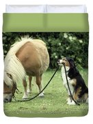 Pony With Lead Rope Held By Sitting Dog Duvet Cover