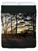 Pony's Evening Pasture Trot Duvet Cover