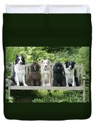 Poodles And Other Dogs On A Bench Duvet Cover