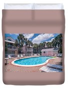 Pool And Cottages Duvet Cover