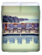 Pool With Views Of The Ocean Duvet Cover