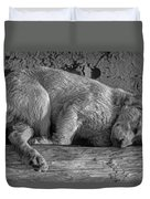 Pooped Puppy Bw Duvet Cover
