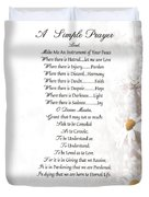 Pope Francis St. Francis Simple Prayer Daisies Duvet Cover by Desiderata Gallery