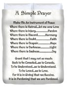 Pope Francis St. Francis Simple Prayer Pray For Peace On Parchment Duvet Cover by Desiderata Gallery