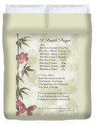 Pope Francis St. Francis Simple Prayerbutterfly On Bamboo Duvet Cover by Desiderata Gallery