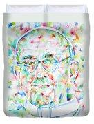 Pope Francis Watercolor Portrait Duvet Cover